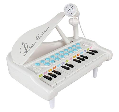Vertily Adjustable Microphone Piano Keyboard Toy for Kids 1 2 3 4 Year Old Girls First Birthday Gift 24 Keys Multifunctional Musical Electronic Toy Piano for Toddlers Educational Puzzle Toys -