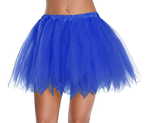 v28 Women's Teen's 1950s Vintage Tutu Tulle Petticoat Ballet Bubble Skirt (Plus Size (US: 10-18), Navy Blue)