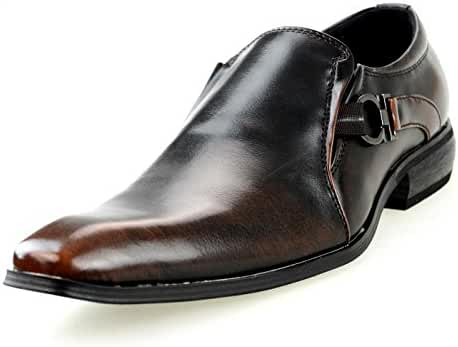 MM/ONE Mens Oxfords Dress Shoes Enamel Lace-up Monk strap Straight Tip Bicycle Blucher Black Brown