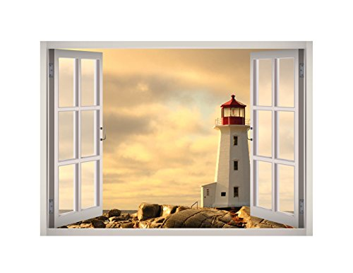 Lighthouse View Window 3D Wall Decal Art Removable Wallpaper Mural Sticker Vinyl Home Decor West Mountain W33 (MEDIUM (32''W x 23''H)) ()