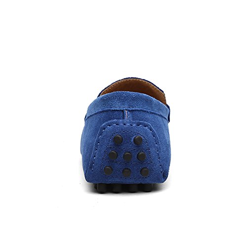 Abby 2088 Mens Comfort Stylish Casual Loafers Slip-on Work Driving Leather Shoes Blue 78IFnD7W