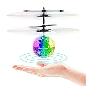 Flying Toy Ball Infrared Induction RC Flying Toy Built-in LED Light Disco Helicopter Shining Colorful Flying Drone Indoor and Outdoor Games Toys for 1 2 3 4 5 6 7 8 9 10 Year Old Boys and Girls