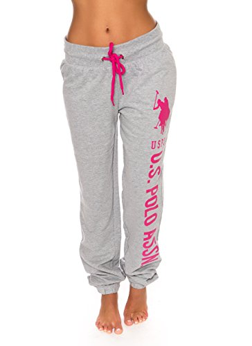 (U.S. Polo Assn. Womens Printed French Terry Boyfriend Jogger Sweatpants Grey M)