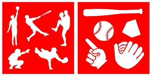 Auto Vynamics - STENCIL-BASEBALL-10 - Baseball Silhouettes Stencil Set - Featuring Multiple Players, Glove, Ball, Bat, & More! - 10-by-10-inch Sheet - (2) Piece Kit - Pair of Sheets