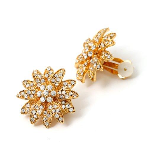 Topwholesalejewel Bridal Earrings Gold Crystal Flower Shape with Rhinestones Decorated Clip Earrings