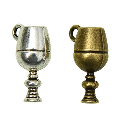 Monrocco 50 Pieces Retro Miniature Cup Charms Alloy Pendants Necklace Jewelry Makings Findings (Antique Bronze & Antique ()