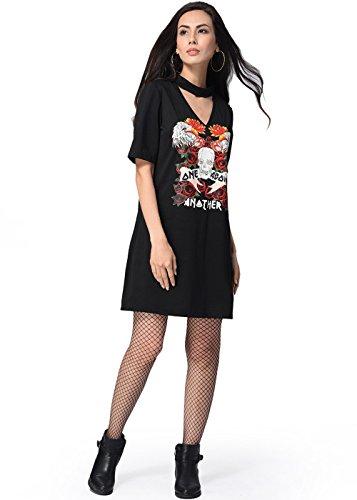 Women's Short Sleeve Casual Loose T-Shirt Mini Dress Beach Dress