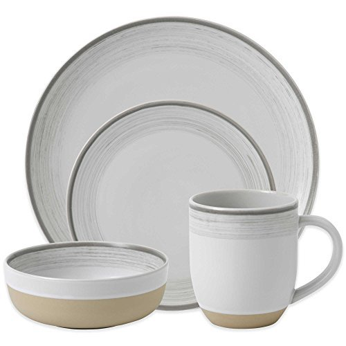 ED Ellen Degeneres Beautifully Crafted By Royal Doulton Brushed Glaze 16-Piece Stoneware Dinnerware Set in White