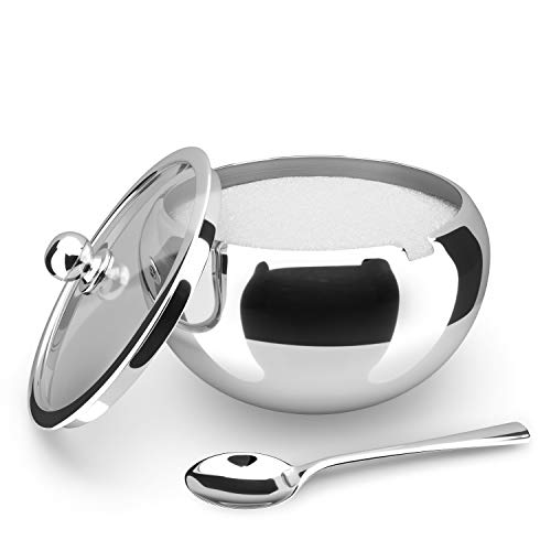 KooK Large Sugar Bowl, Stainless Steel With Glass Lid, Includes Stainless Steel Spoon, Holds 2 cups of Sugar, 16.9oz