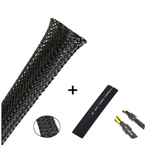 Wire Loom Braided Wire Sleeve PET Braided Wire Loom 0.5 Inch Pet Braided Cable Sleeve 25FT PET Expandable Braided Sleeving Black