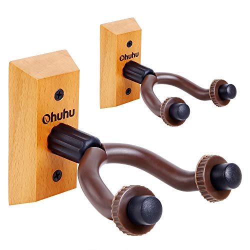 Guitar Wall Mount Hanger 2-Pack, Ohuhu Guitar Hanger Wall Hook Holder Stand for Bass Electric Acoustic Guitar Ukulele