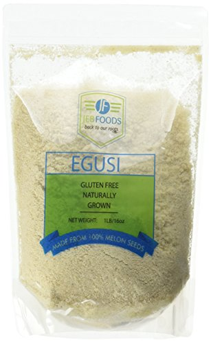 African Food - JEB FOODS Egusi Ground Melon Seeds, 100% Natural, Nutritious, Rich in Proteins and Vitamins, 1 lb.