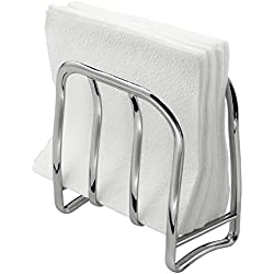 mDesign Decorative Metal Vertical Disposable Flat Square Dinner Paper Napkins Standing Holders for Kitchen Countertops, Table - Chrome