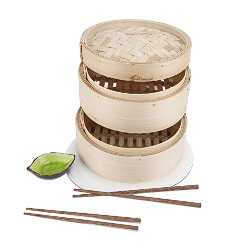 Premium 10 Inch Handmade Bamboo Steamer - Two Tier EXTRA DEPTH Baskets - Dim Sum Dumpling & Bao Bun Chinese Food Steamers - Steam Baskets For Rice, Vegetables, Meat & Fish Included 2 Sets Chopsticks,