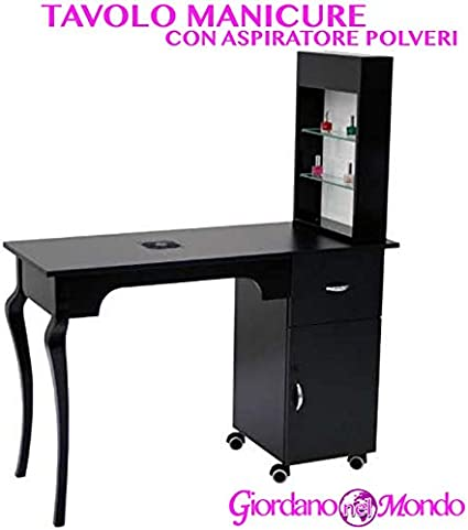 Mesa de manicura Negro con aspirador de polvo y expositor Lateral Profesional para Centro estético: Amazon.es: Belleza