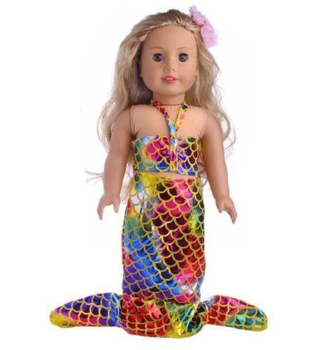 Doll Skirt Set - EatingBiting(R) 18 inch Doll Mermaid Set Silvery Shine Skirt Doll Clothing Clothes Outfit 18
