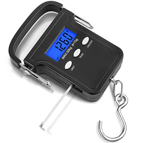 Luggage Scales, Digital Hand Scales with Tape Measure, 50kg Capacity Illuminated Display, Auto Hold Tare Function and Auto Shut Off
