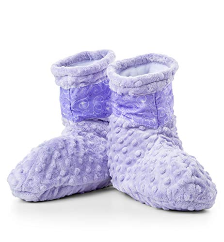 GiftTree Lavender Spa Booties | Super Soft Fleece Booties with Removable Microwavable Lavender Aromatherapy Inserts | One Size Fits Most | Great Gift for Her, Valentine's Day, Birthday ()