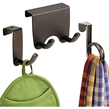 mDesign Metal Over Cabinet Door Kitchen Storage Hooks and Ring - Holds Dish Towels, Hand Towels, Pot Holders, Oven Mitts - Set of 3 - Bronze