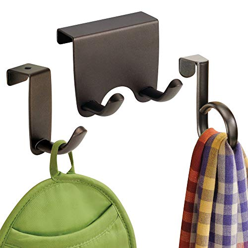 (mDesign Over the Cabinet Kitchen Dish Towel Storage Hooks - Pack of 3, Assorted, Bronze)