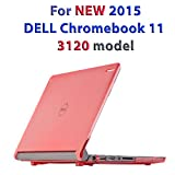 """mCover Hard Shell Case for 11.6"""" Dell Chromebook 11 3120 series Laptop released after Feb. 2015 with 180-degree LCD hinge (NOT compatible with 2014 original Dell Chromebook 11 210-ACDU series)(Red)"""