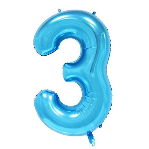 Ruimeier Number 3 Balloon ( 40 INCH ) Blue Party Balloons Aluminum Mylar Balloon for Birthday Decorations Wedding Anniversary Baby Bridal Shower BA03BL