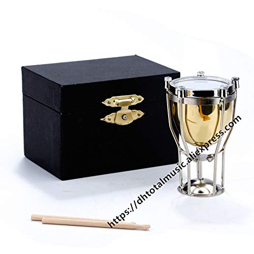 ZAMTAC Mini Timpani with Case Miniature Copper Musical Instruments Collection Decorative Ornaments Model Decoration Gifts - (Size: 6.5cm)