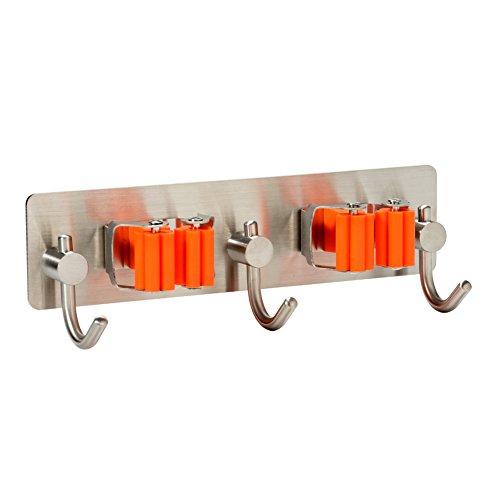 Mop Broom Holder, Stainless Steel Bathroom Kitchen 3M Self Adhesive Rack, Home Organizer Tools Style:2 Holders with 3 hooks Plastic Janitor Broom
