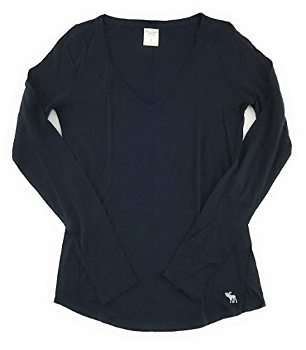 Abercrombie and Fitch Women's Long Sleeve Classic V-Neck T-Shirt Navy X-Small