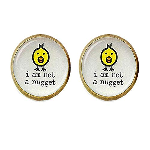 I am not a Nugget Letter Earrings ,Yellow Bird Glass Dome Earrings
