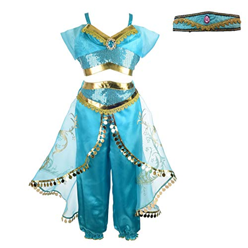 Dressy Daisy Girls Princess Jasmine Dress Up with Headband Costumes Halloween Party Fancy Dress Size 12]()