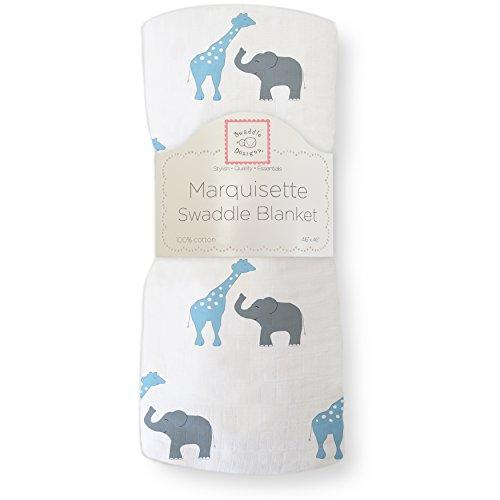 SwaddleDesigns Marquisette Swaddling Blanket, Premium Cotton Muslin, Blue Safari Fun