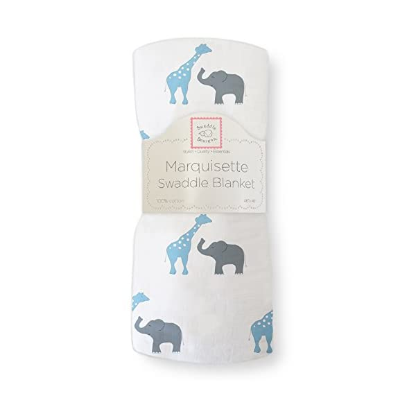 SwaddleDesigns Marquisette Swaddling Blanket, Premium Cotton Muslin, Blue Safari Fun