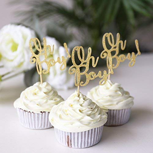 Oh Boy Cupcake Topper Birthday Cup Cake Table Decorations