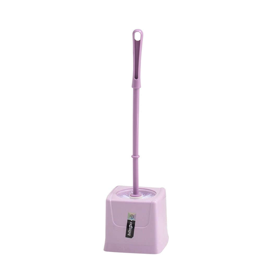 ZGP Toilet accessories Toilet Brush Bathroom Household Cleaning Brush Plastic Durable Brush Creative Soft Brush Compact Toilet Brush Holder (Color : Purple)