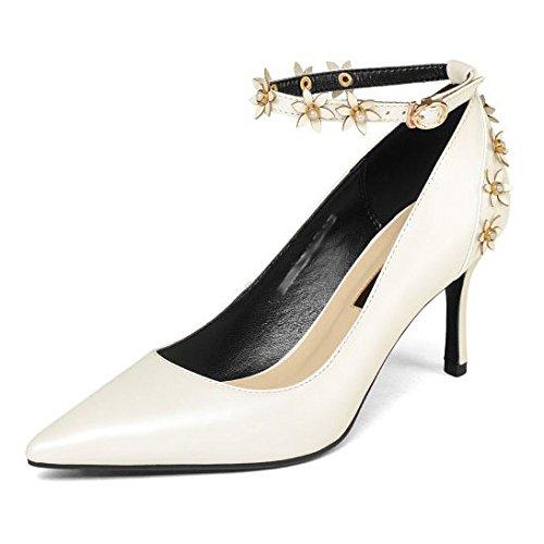 Personnalité Soirée pour Mode Fleur de Chaussures Cuir Boucle Escarpins Femmes Robes Pointue DKFJKI White en 1q8FF