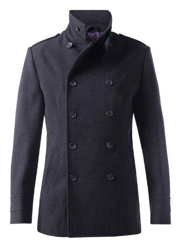 Para hombre Dreamweaver elegante Fashion Classic militar lana doble breasted  Pea Coat - DJK Invencible Negro gris X-Large  Amazon.es  Ropa y accesorios 060b509aa4a4
