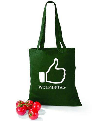 Artdiktat Baumwolltasche I like Wolfsburg Bottle Green