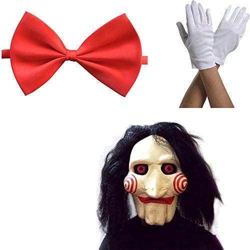 Máscara Saw Jigsaw con Pelo sintético + Corbata de moño + Guantes Carnaval y Halloween - Disfraz de Adulto - Mujeres Hombres: Amazon.es: Productos para mascotas