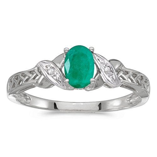 FB Jewels 10k White Gold Genuine Green Birthstone Solitaire Oval Emerald And Diamond Wedding Engagement Statement Ring - Size 9.5 (0.31 Cttw.) ()