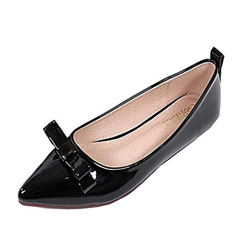 AalarDom Women's No-Heel Pull-On Pointed-Toe Solid Patent Leather Flats-Shoes