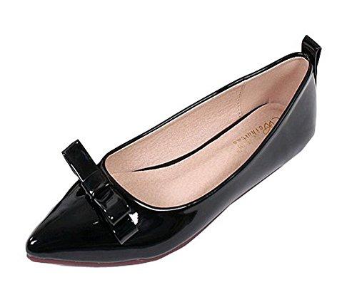 Aalardom Damen Ohne Absatz Ziehen Auf Spitz Zehe Rein Flache Schuhe