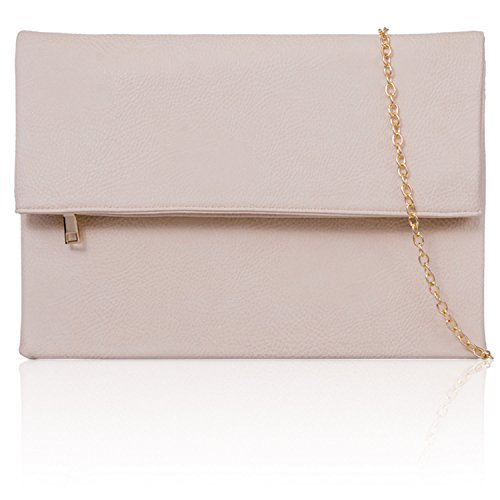 Evening Prom Bags Clutch UK Long London Makeup Xardi Beige Large Slouch Ladies Women Chain Foldover nvwPq1T