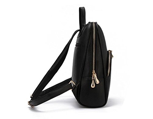 Bags Casual Backpack Women Yaancun Leather Travel Pu Bag Black School Cute Backpack School Fashion 1HRHq8TW