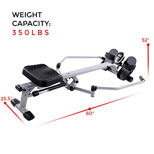 Sunny Health & Fitness SF-RW5639 Full Motion Rowing Machine Rower w/ 350 lb Weight Capacity and LCD Monitor by Sunny Health & Fitness (Image #15)'