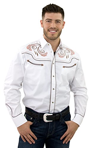 STARR Western Cowboy Shirt for Men by Snap Front, Trim Fit SHC002-WHITE-Size-XXL Xxl Mens Retro Shirt