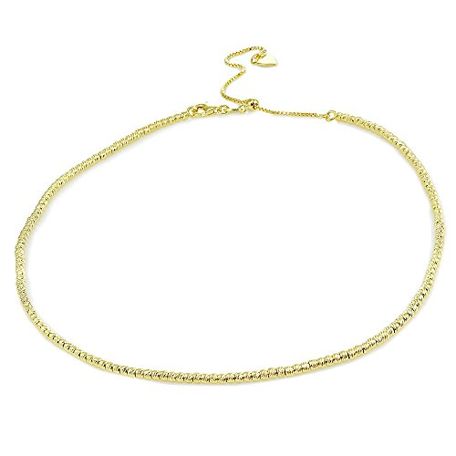 Sterling Silver Diamond Cut Bead - Yellow Gold Flashed Sterling Silver Diamond-Cut Beads Adjustable Italian Chain Choker Necklace