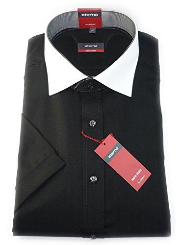 eterna modern fit camicia a maniche corte nero con colletto bianco a forma di pesce sfumerebbe/1124,39, C121/E13