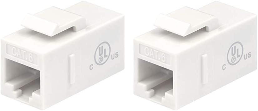 WHITE NEW CAT6 INLINE COUPLER SNAP IN PASS THROUGH KEYSTONE JACK TYPE