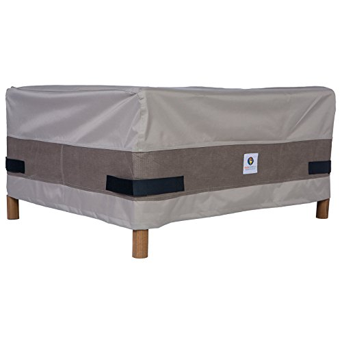 Fabric Outdoor Ottoman - Duck Covers Elegant Rectangular Patio Ottoman or Side Table Cover, 52